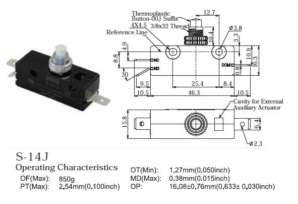 SUNS S-14E Pin Plunger Snap Action 25A Micro Switch E14-00A E1400A 0E14-00A